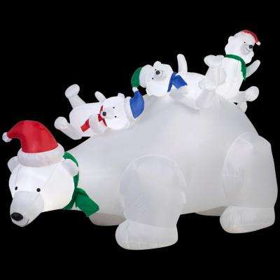 6 ft. Lighted Inflatable Polar Bear Scene
