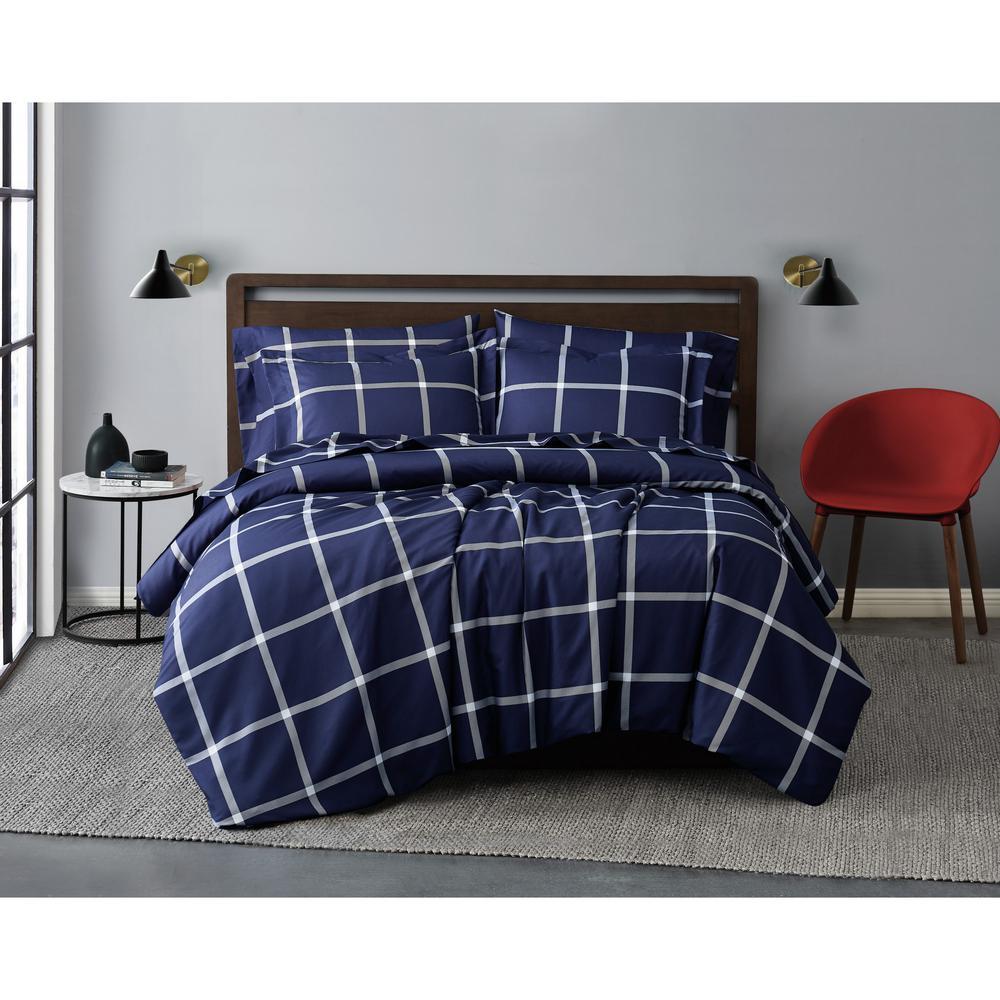 Printed Windowpane 2-Piece White/Navy Microfiber Twin XL Comforter Set
