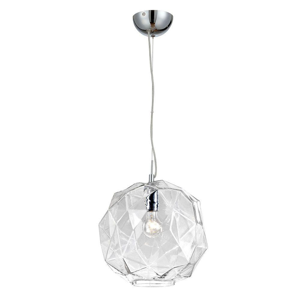 Eurofase Studio Collection 1-Light Chrome and Clear Pendant