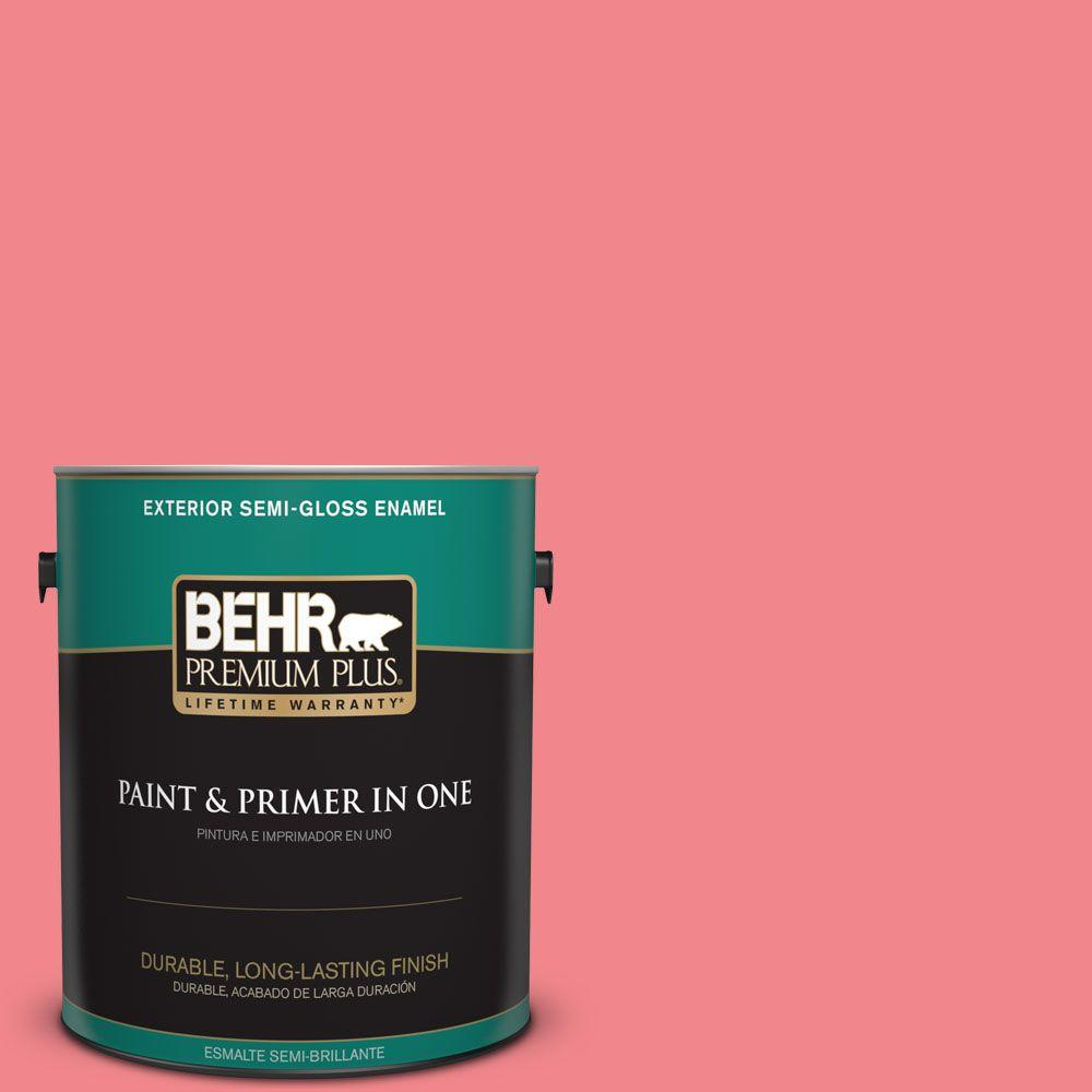1-gal. #140B-5 Flamingo Dream Semi-Gloss Enamel Exterior Paint