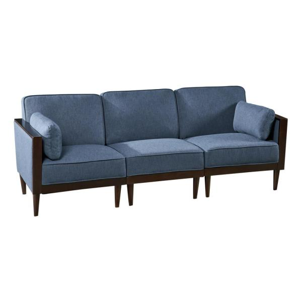 Pembroke Mid-Century Modern 3-Piece Navy Blue Fabric Sectional Sofa Set