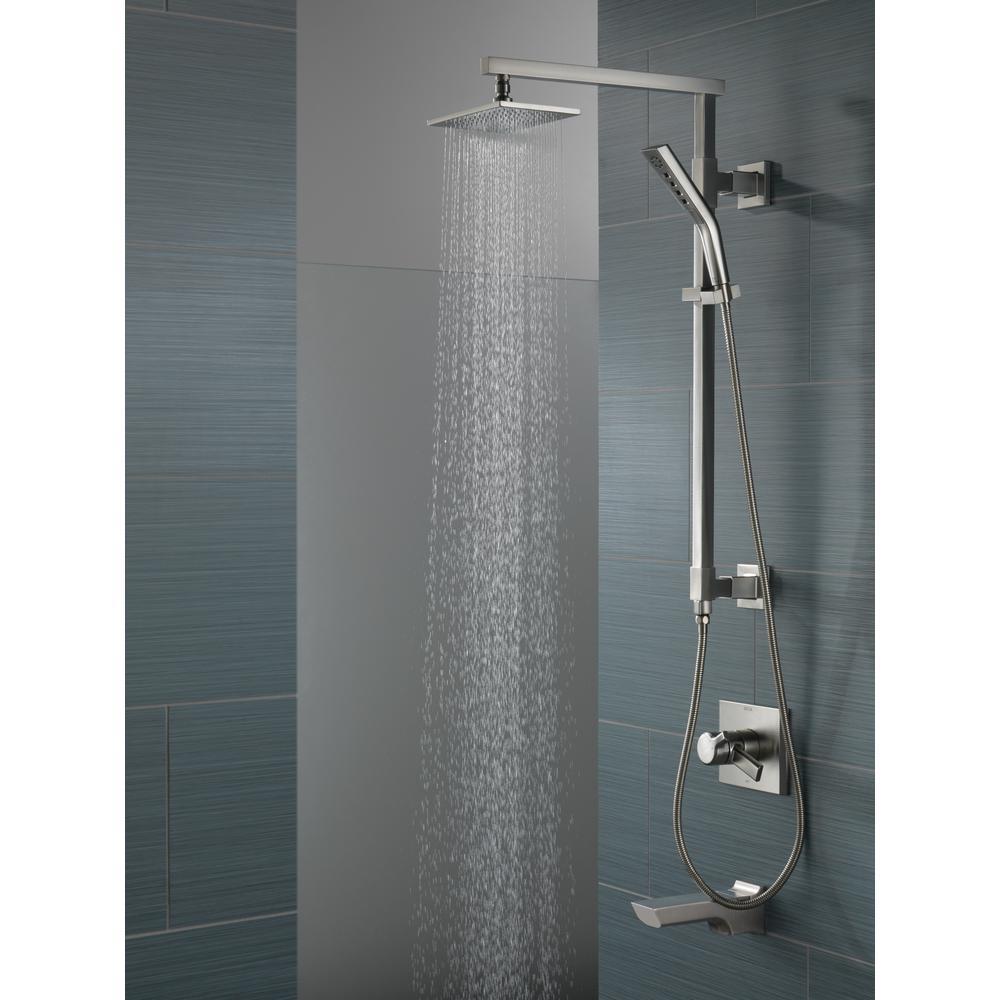 Zura 4-Spray 1.4 in. Single Wall Mount Handheld H2Okinetic Shower Head in Polished Nickel
