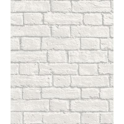 56.4 sq. ft. Ditmas White Brick Wallpaper