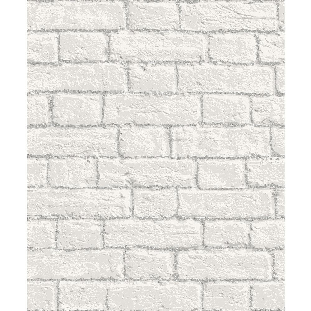 Ditmas White Brick Sample White Wallpaper Sample