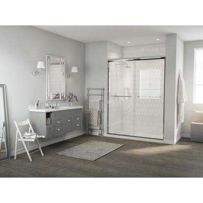 Paragon 1/4 Series 54 in. x 71 in. Semi-Framed Sliding Shower Door with Curved Towel Bar in Chrome and Clear Glass