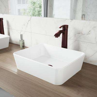 Sirena Matte Stone Vessel Sink In White With Otis Bathroom Vessel Faucet In  Oil Rubbed Bronze