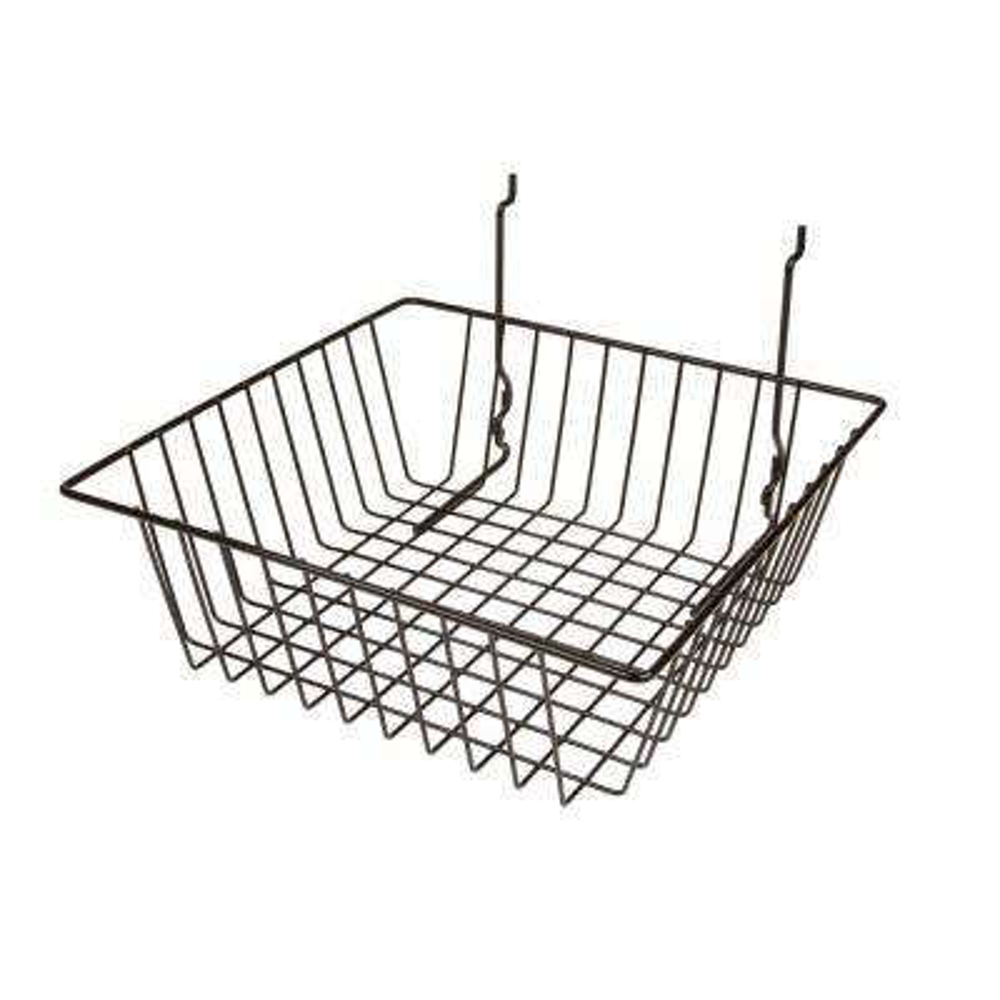 12 in. W x 12 in. D x 4 in. H Black Small Basket