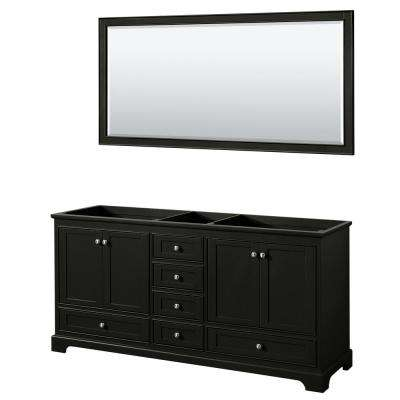 Deborah 71 in. Double Bathroom Vanity Cabinet Only with 70 in. Mirror in Dark Espresso