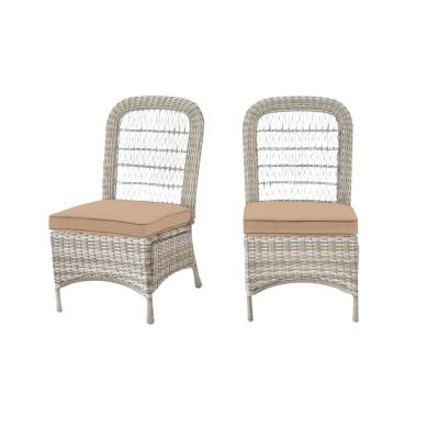 Beacon Park Gray Wicker Outdoor Patio Armless Dining Chair with Sunbrella Beige Tan Cushions (2-Pack)