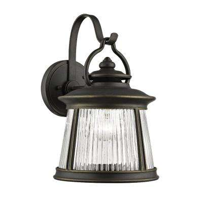 Meridian 1-Light Old Bronze Exterior Wall Mount Lantern with Glass Shade