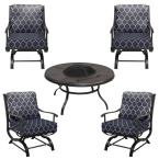 Redwood Valley Black 5-Piece Steel Outdoor Patio Fire Pit Seating Set with CushionGuard Midnight Trellis Navy Cushions