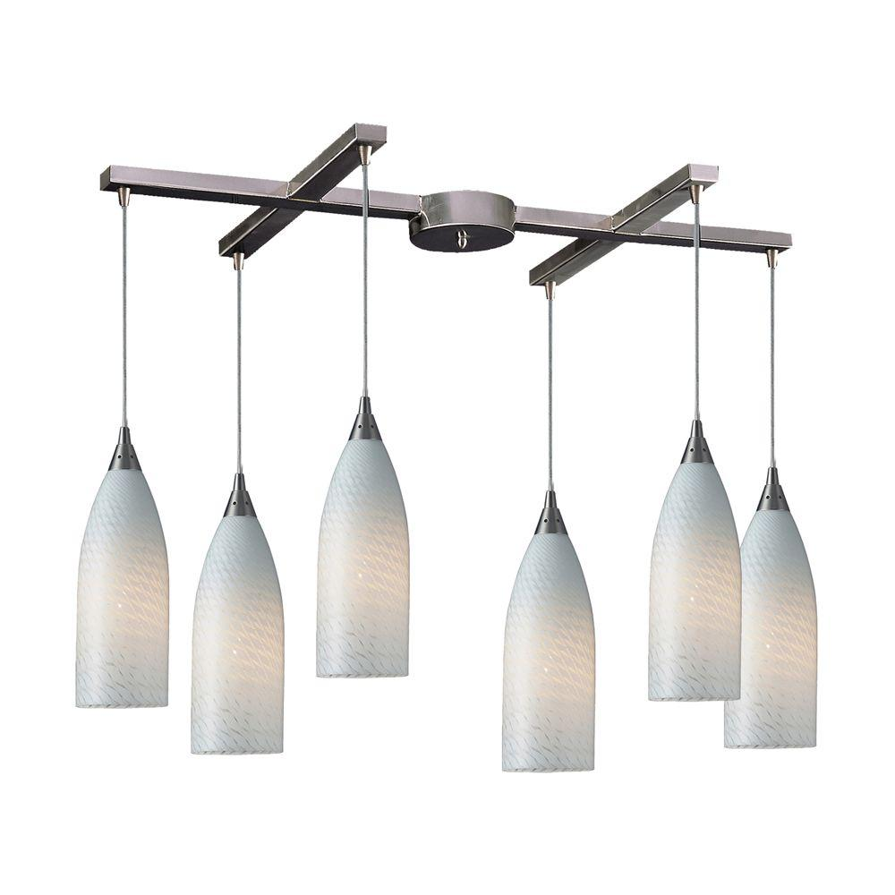 Cilindro 6-Light Satin Nickel Ceiling Mount Pendant