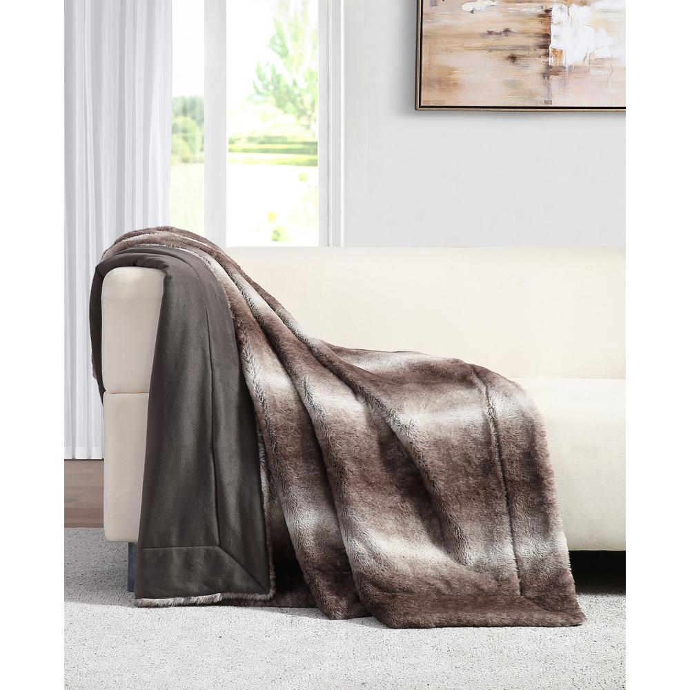 Millburn Faux Brown Fur Throw Blanket