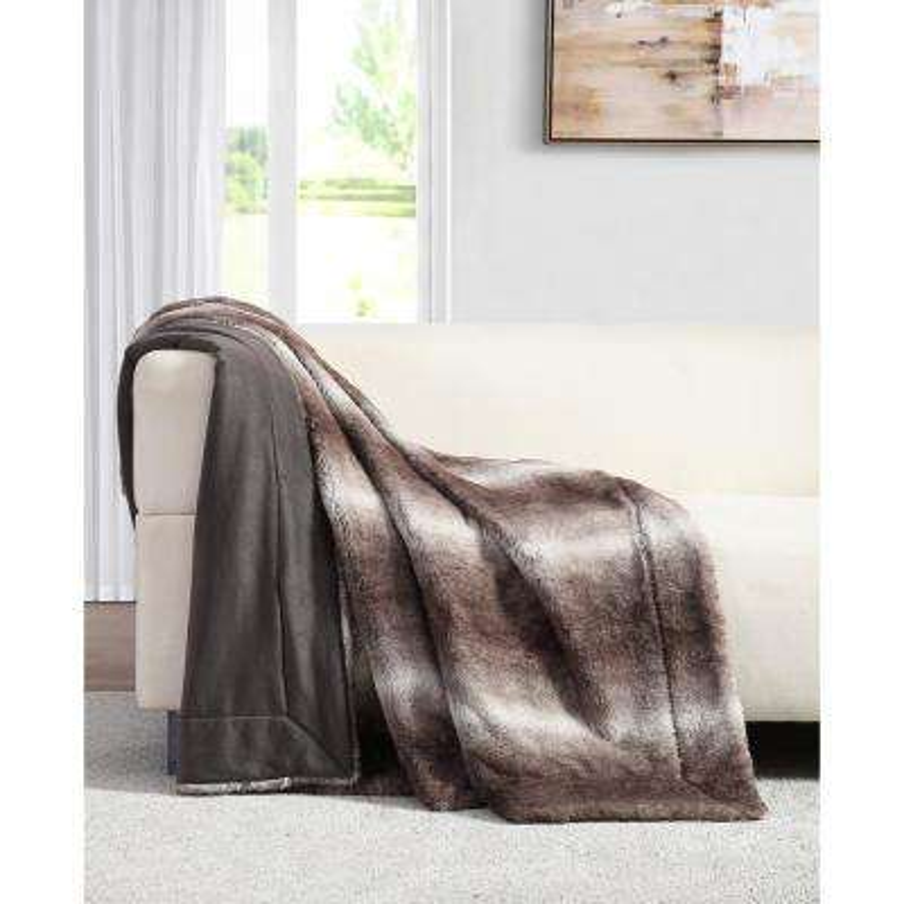 Millburn Faux Brown Fur Throw Blanket