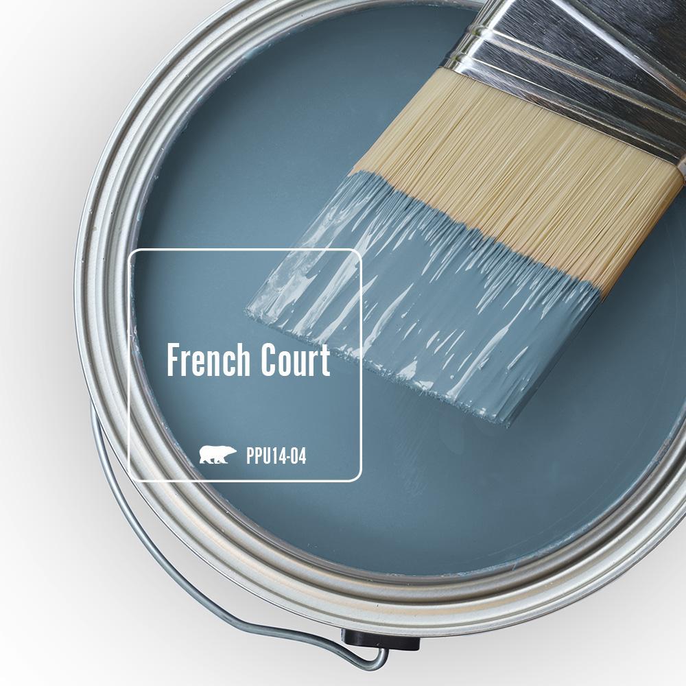 Behr French Court blue paint color. #behrfrenchcourt #bluepaints #paintcolors