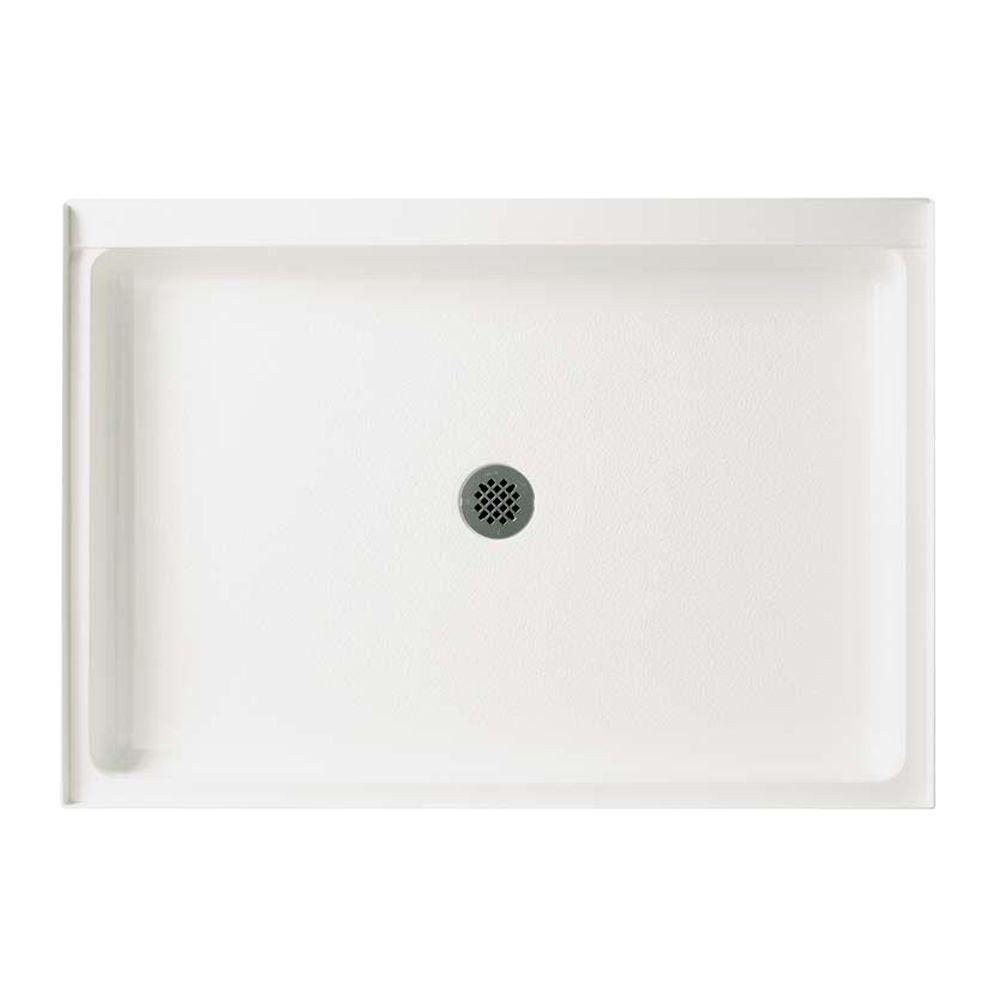 Swan 34 in. x 42 in. Solid Surface Single Threshold Center Drain