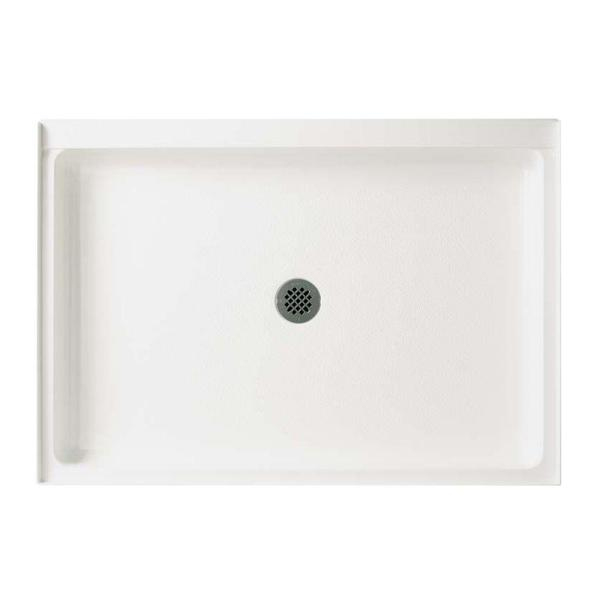 34 in. x 48 in. Solid Surface Single Threshold Center Drain Shower Pan in White