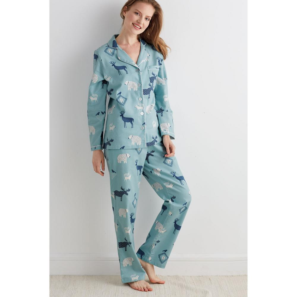 86d9fea35d5d The Company Store Cotton Flannel Women s 2X Large Woodland Pajama ...