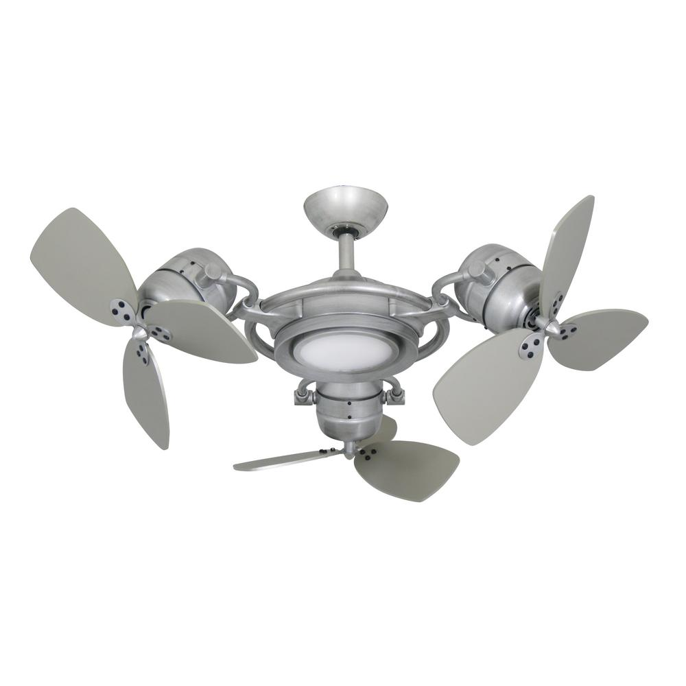 TroposAir TriStar II 3 x 18 in. LED Brushed Nickel Triple Ceiling Fan and Light with Remote Control