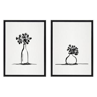 Sylvie Still Life Botanical Flower Vase 1 & 2 24 in. x 18 in. by The Creative Bunch Studio Framed Canvas Wall Art