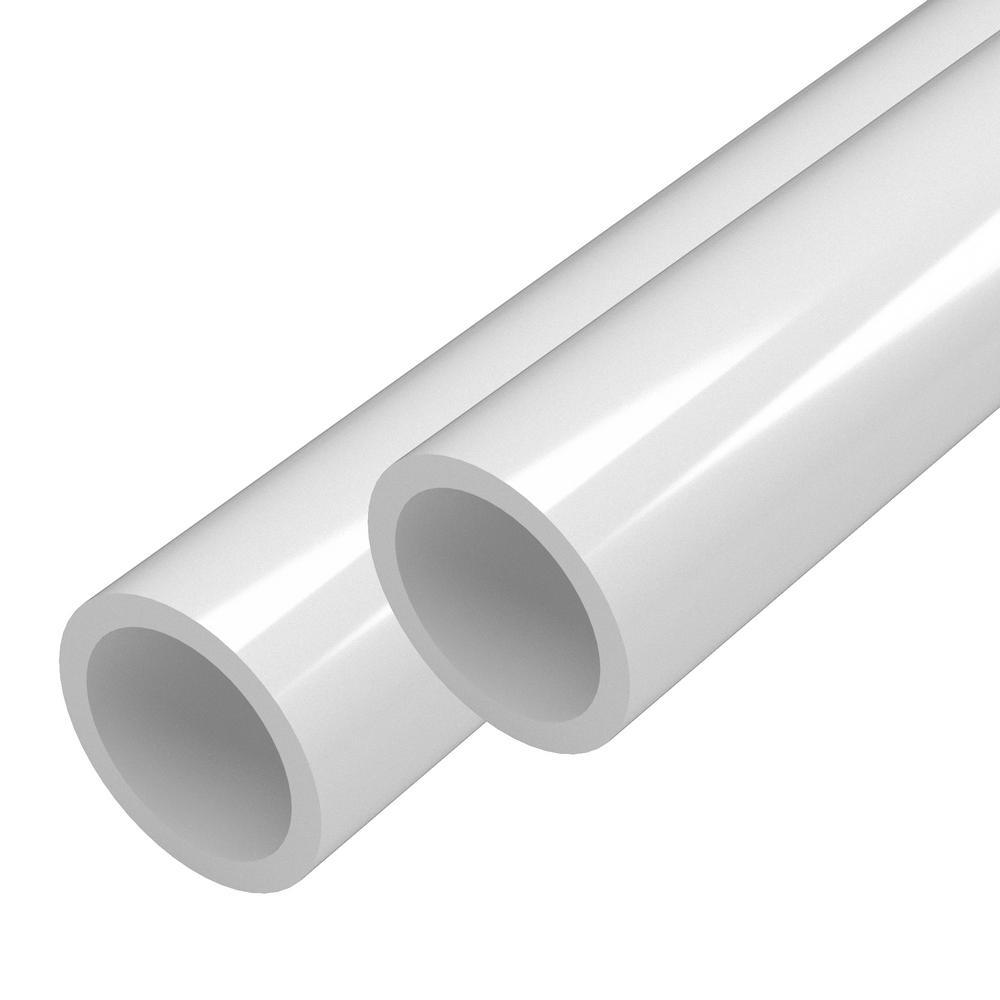 1 in. x 5 ft. White Furniture Grade Schedule 40 PVC Pipe (2-Pack)