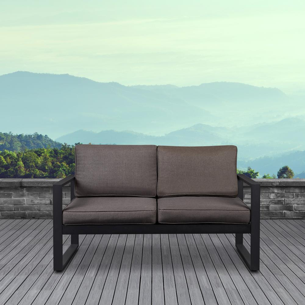Real Flame Baltic Black Powder Coated Aluminum Outdoor Loveseat with Dessert Brown Cushions