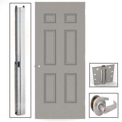 Gray 6-Panel Steel Prehung Commercial Entrance Unit with Hardware