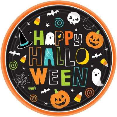 10 in. x 10 in. Paper Halloween Friends Round Plates