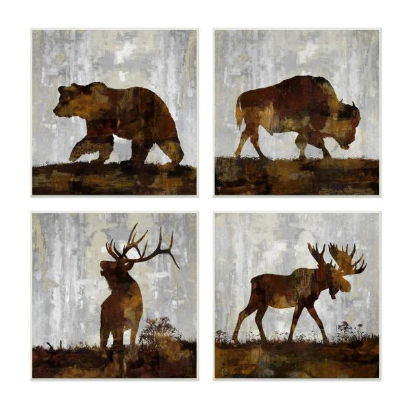 12 In X 12 In Woodland Animals Bear Buffalo Deer And Moose By Artist Carl Colburn Wood Wall Art 4pieces