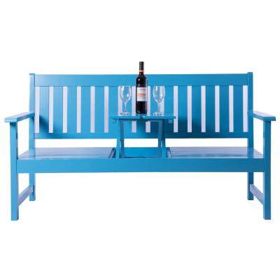 Wooden Patio Garden Park Outdoor Yard Bench With Middle Pop-Up Foldable Table, Blue