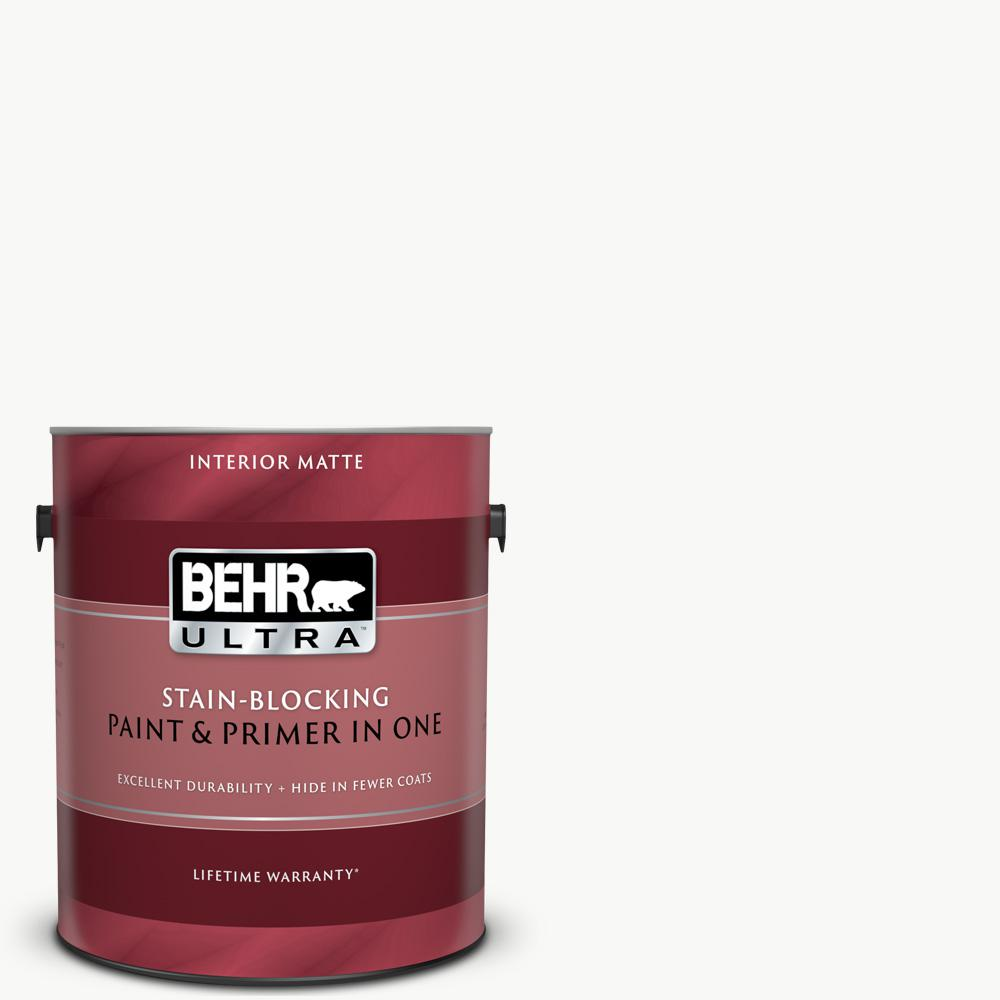 Behr Ultra 1 Gal Pure White Matte Interior Paint And Primer In One