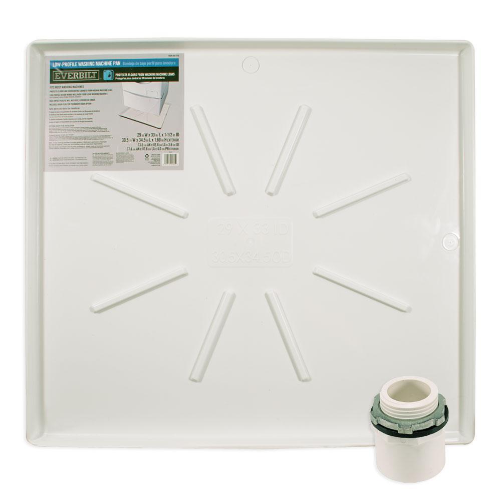 29 in  x 33 in  Low Profile Washing Machine Drain Pan in White