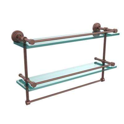 22 in. L  x 12 in. H  x 5 in. W 2-Tier Gallery Clear Glass Bathroom Shelf with Towel Bar in Antique Copper