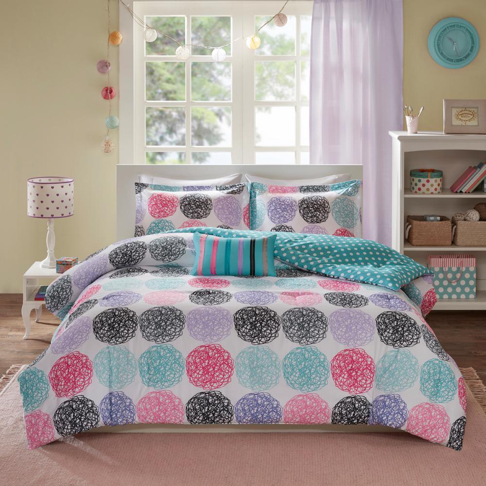 Audrina 4-Piece Purple/Multicolored Full/Queen Comforter Set