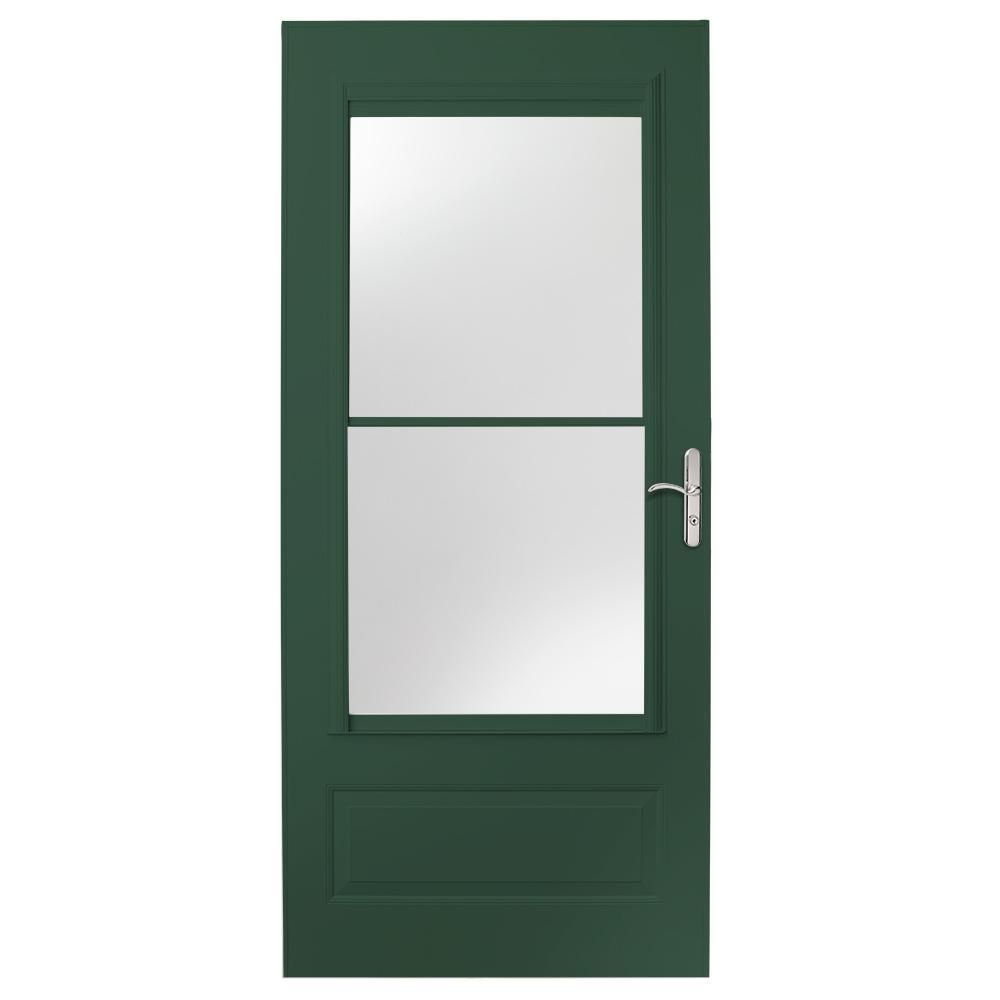 EMCO 32 in. x 80 in. 400 Series Forest Green Universal Self-Storing Aluminum Storm Door with Nickel Hardware