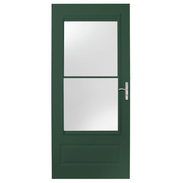 32 in. x 80 in. 400 Series Forest Green Universal Self-Storing Aluminum Storm Door with Nickel Hardware