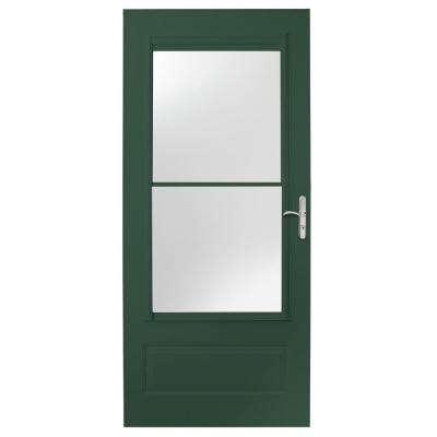 36 in. x 80 in. 400 Series Forest Green Universal Self-Storing Aluminum Storm Door with Nickel Hardware