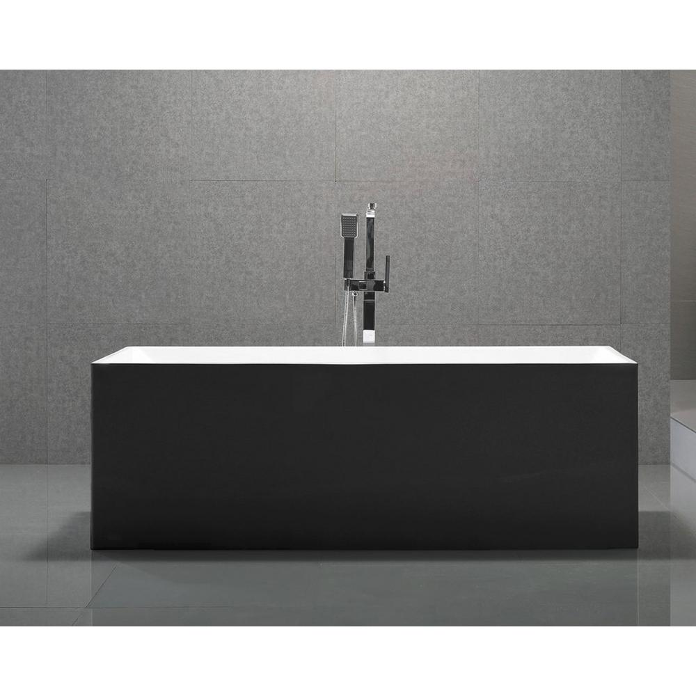 Long Beach 60 in. Acrylic Flatbottom Non-Whirlpool Bathtub in Black ...