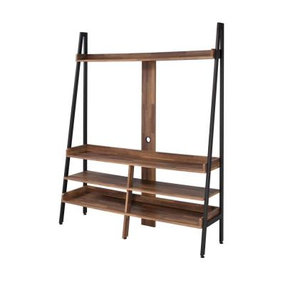 Porkerra 61 in. Matte Black TV Stand Fits TVs Up To 68 in. with Open Shelves