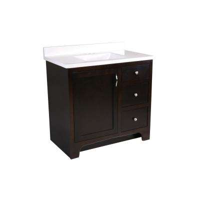 36 in. x 21 in. x 33-1/2 in. 2-Door 2-Drawer Vanity with Solid White Cultured Marble Vanity Top with White Basin