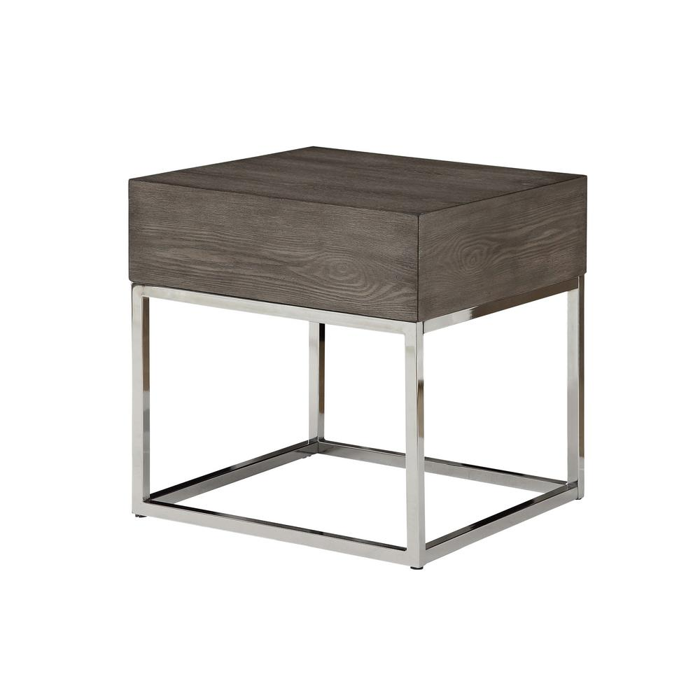 Cecil II Gray Oak and Chrome End Table