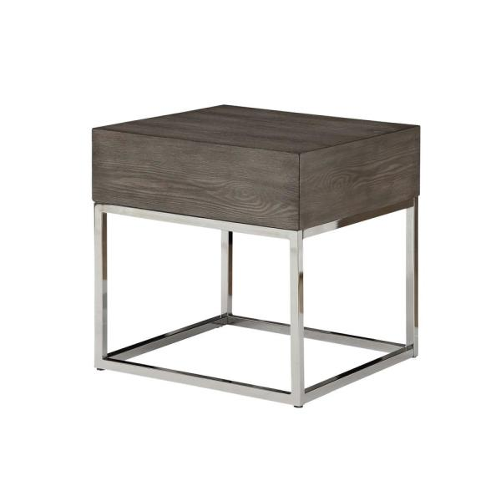 Acme Furniture Cecil II Gray Oak and Chrome End Table 84582