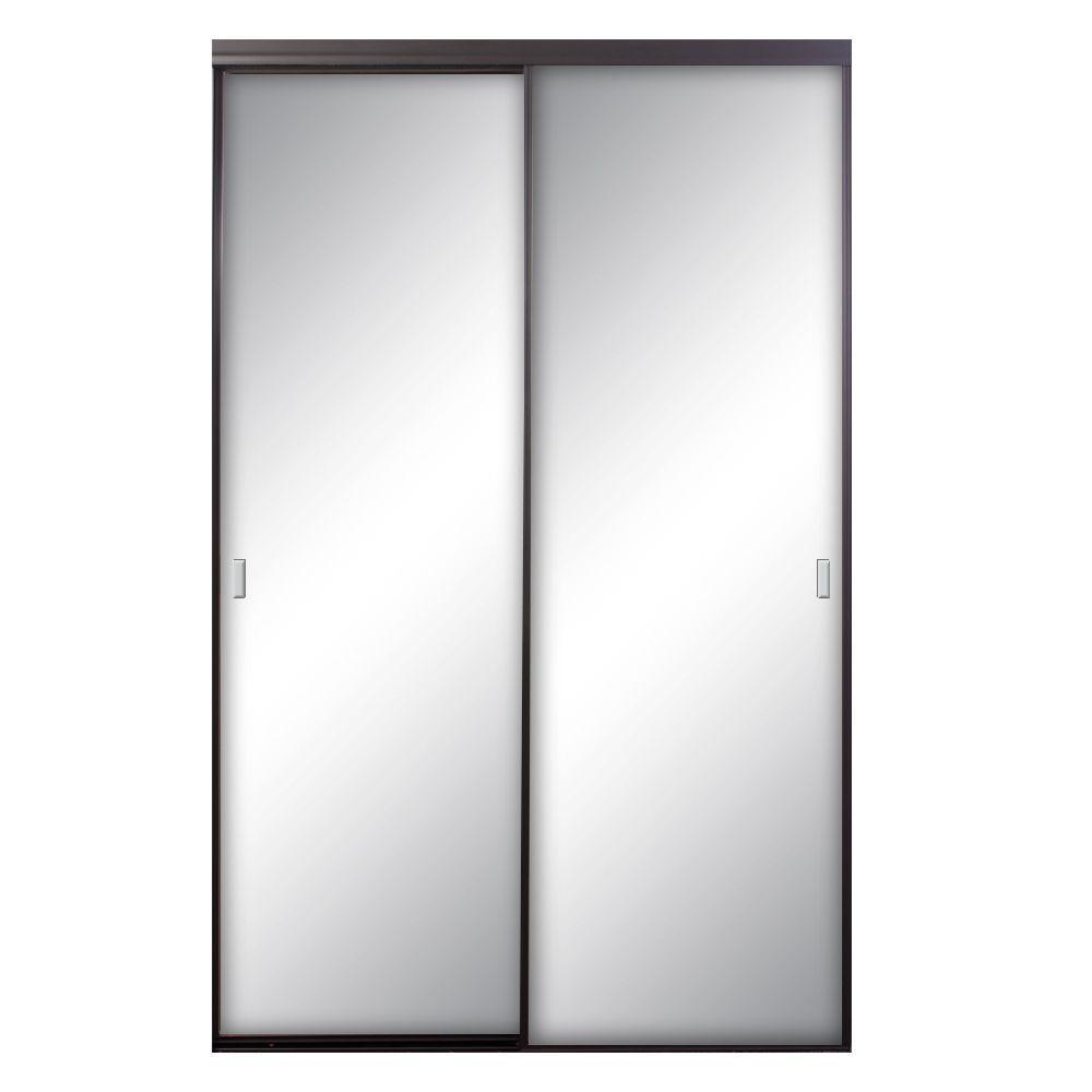 Asprey 48 in. x 81 in. Bronze Mirrored Aluminum Interior Sliding Door