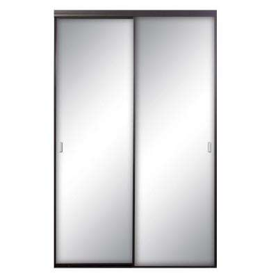 48 in. x 96 in. Asprey Bronze Mirrored Aluminum Interior Sliding Door