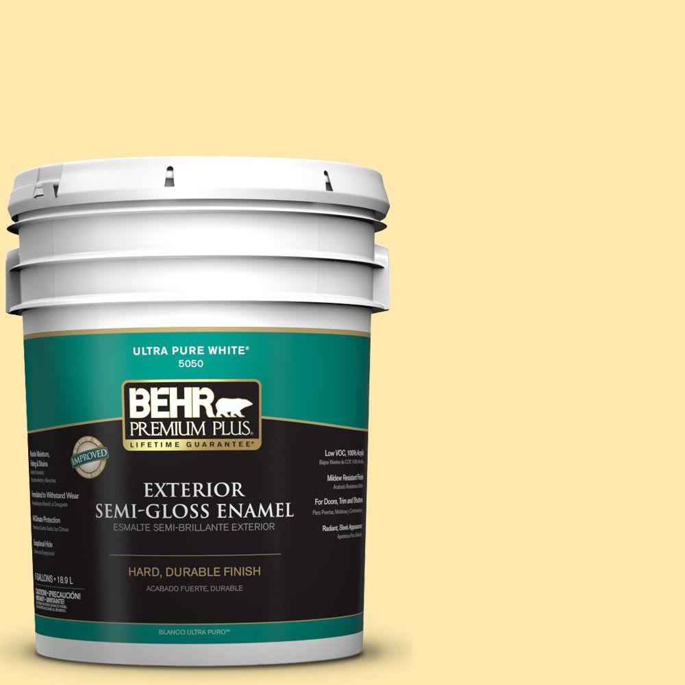 BEHR Premium Plus 5-gal. #P290-2 Sweet as Honey Semi-Gloss Enamel Exterior Paint
