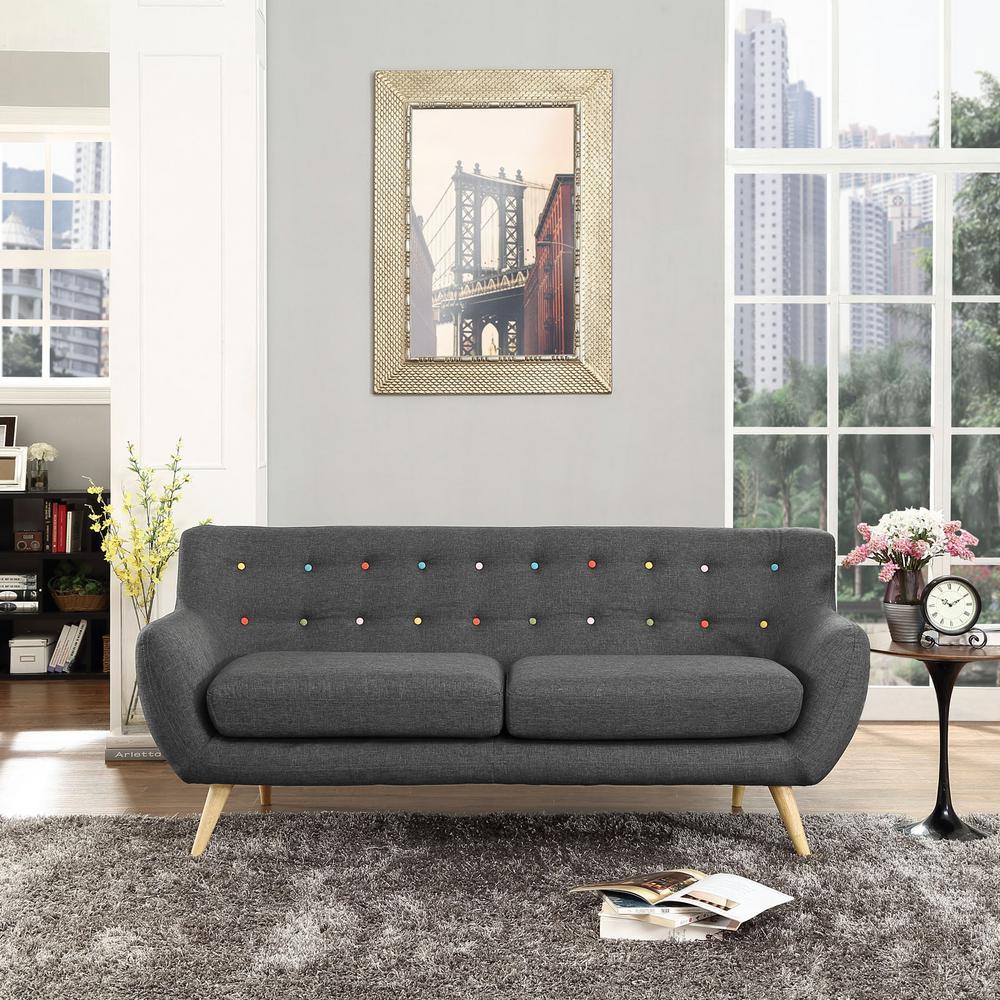 Remark Gray Upholstered Fabric Sofa
