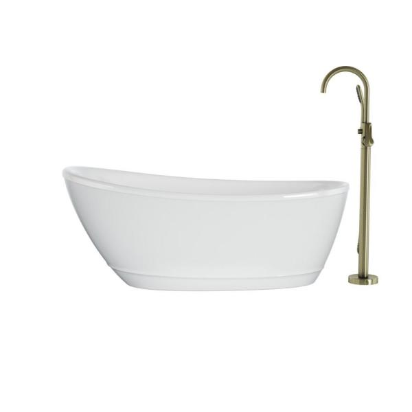 Johanna 59 in. x 30 in. Acrylic Flatbottom Freestanding Soaking Bathtub in White with Brushed Bronze Tub Filler