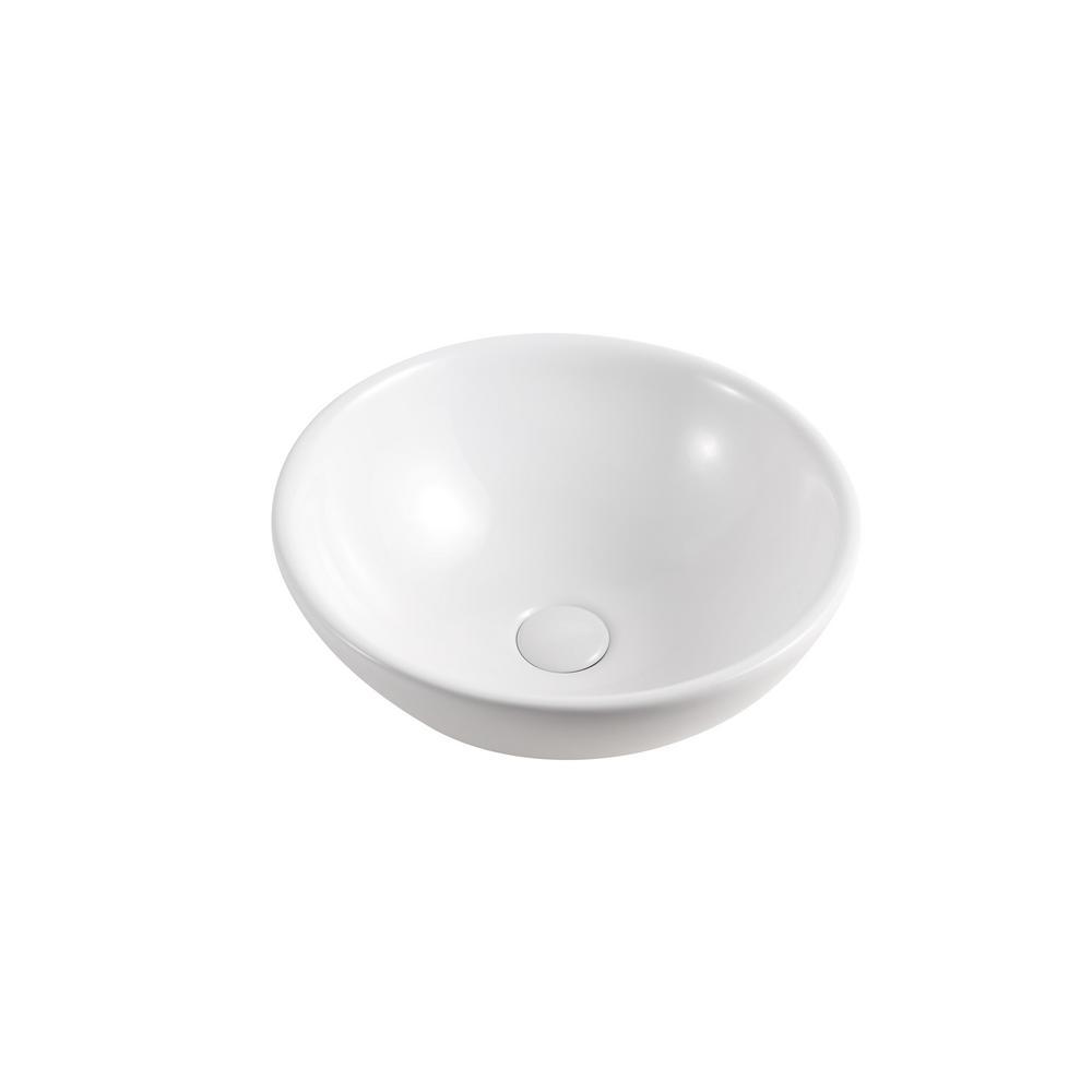 Elanti Round Vessel Bathroom Sink In White