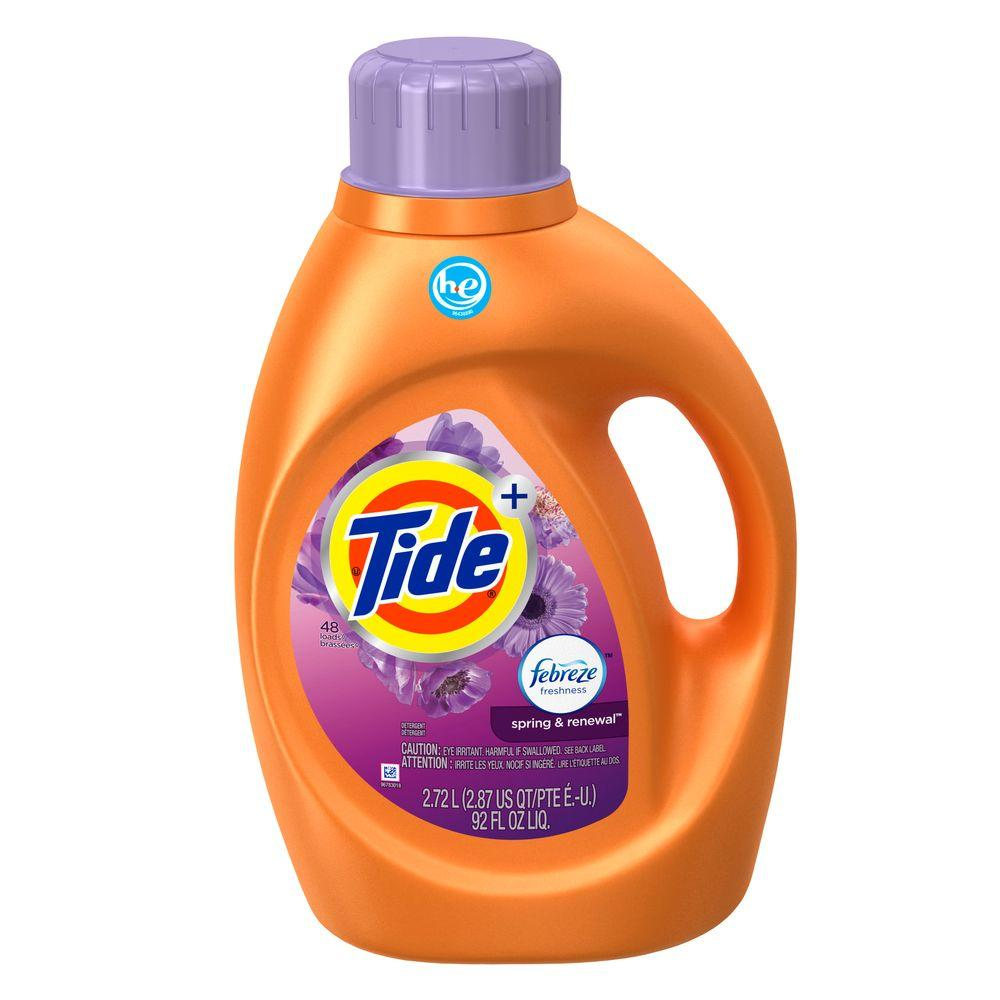 Tide 92 oz. Spring and Renewal HE Liquid Laundry Detergent with Febreze (48 Loads)