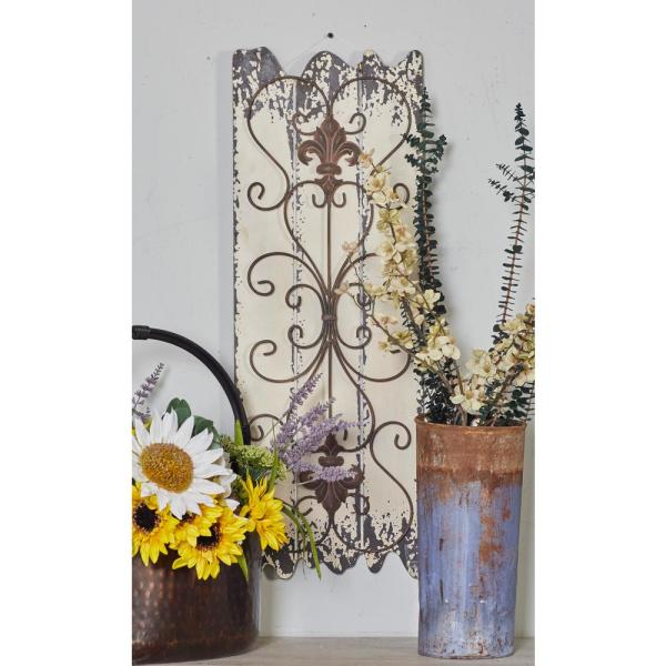 32 In X 11 In Jagged Edged Slatted Planks With Rusted Iron Scrollwork Wooden Wall Art Set Of 2
